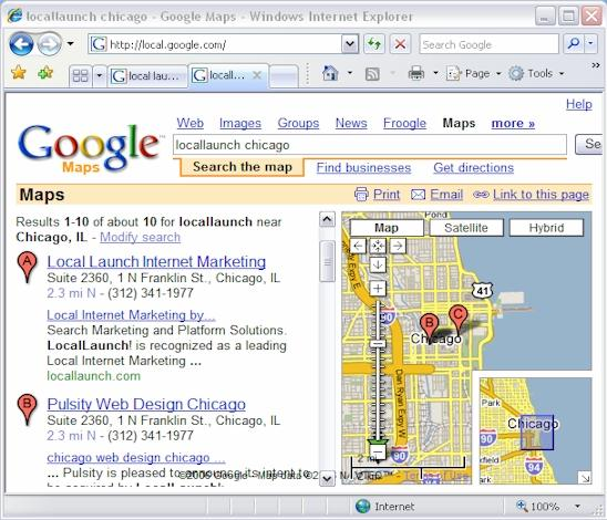 Google search results for Locallaunch Chicago
