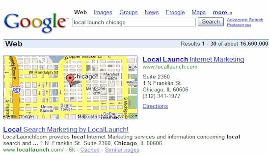 Google search results for locallaunch