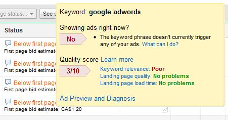 adwords diagnostic tool